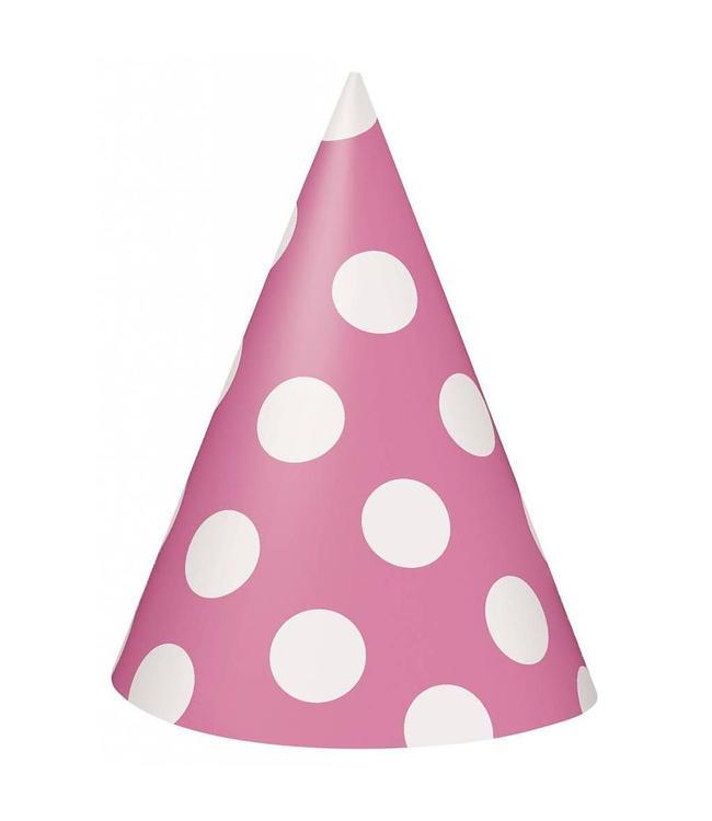 Unique Polka Dots Hoedjes Roze met Witte stippen - 8 stuks
