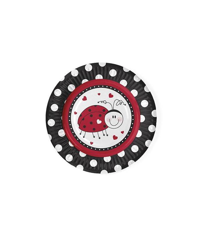 Partydeco Lieveheersbeestjes Bordjes - 6 stuks - 18 cm