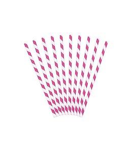 Partydeco Rietjes Streepjes Roze en Wit - 10 stuks - 20 cm