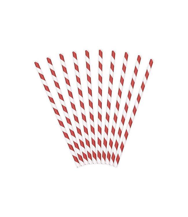 Partydeco Rietjes Streepjes Rood en Wit - 10 stuks - 20 cm