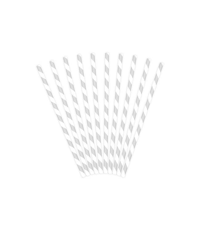 Partydeco Rietjes Streepjes Zilver en Wit - 10 stuks - 20 cm