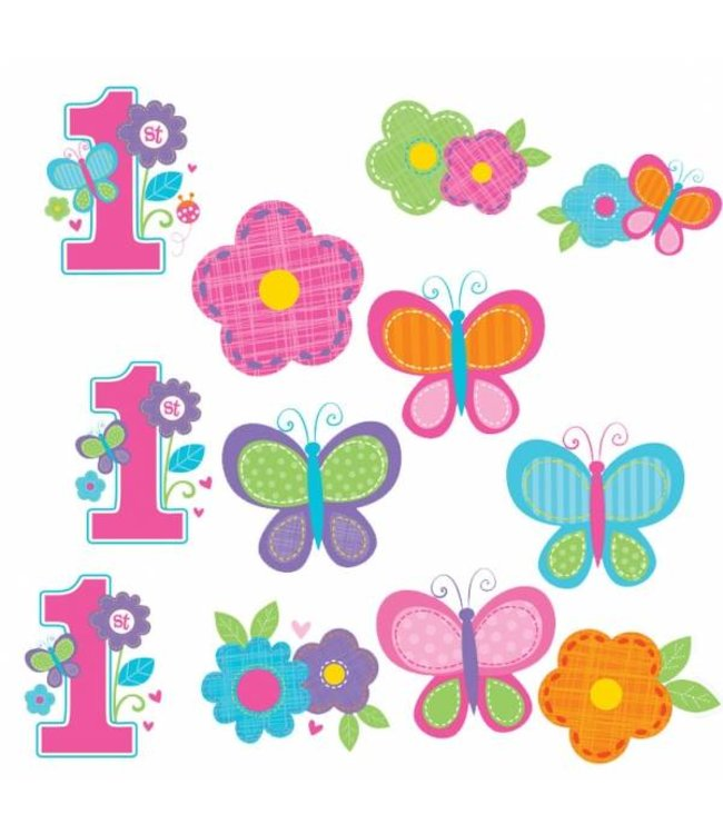 Amscan 1 Jaar Vlinders en Bloemen Cutouts - 12 stuks
