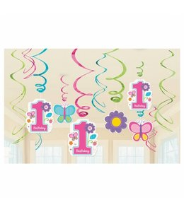 Amscan 1 Jaar Vlinders en Bloemen Hangdecoraties - 12 stuks