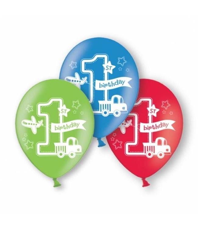 Amscan 1 Jaar Voertuigjes Ballonnen - 6 stuks - 28 cm