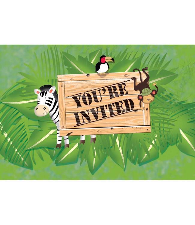 Creative Party Safari Avontuur Uitnodigingen - 8 stuks