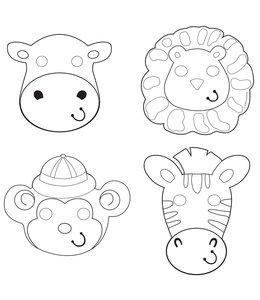 Creative Converting Safari Avontuur Inkleurmaskers - 12 stuks - 4 dieren