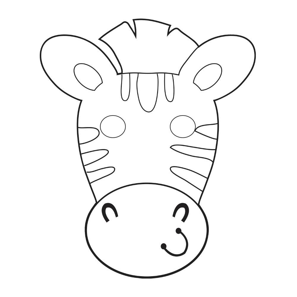 Zebra Masker Kleurplaat Safari Avontuur Inkleurmaskers Hieppp