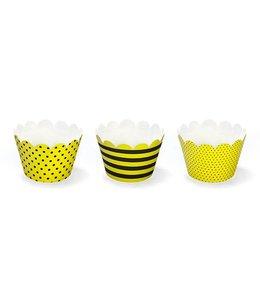 Partydeco Cupcake Wrappers Geel en Zwart - 6 stuks - karton