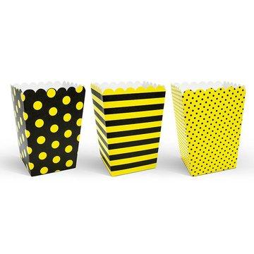 Partydeco Popcorn Bakjes Geel en Zwart - 6 stuks - karton