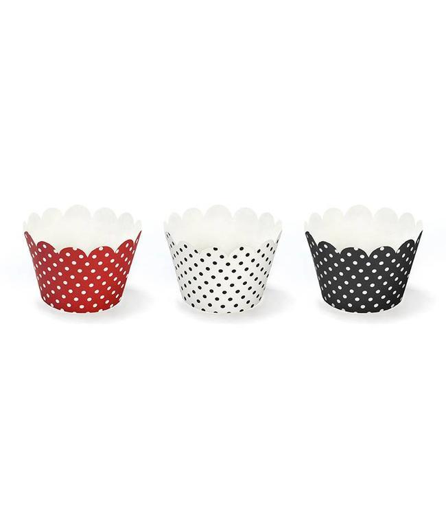 Partydeco Cupcake Wrappers Rood Wit Zwart - 6 stuks