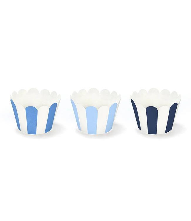Partydeco Cupcake Wrappers Blauw en Wit - 6 stuks