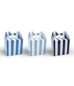 Partydeco Doosjes Blauw en Wit - 6 stuks