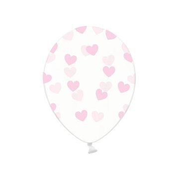 Partydeco Ballonnen met Lichtroze Hartjes, crystal clear - 6 stuks