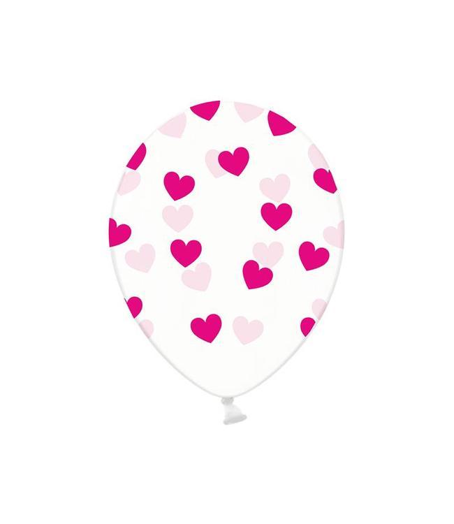 Partydeco Ballonnen met Fuchsia Hartjes, crystal clear - 6 stuks