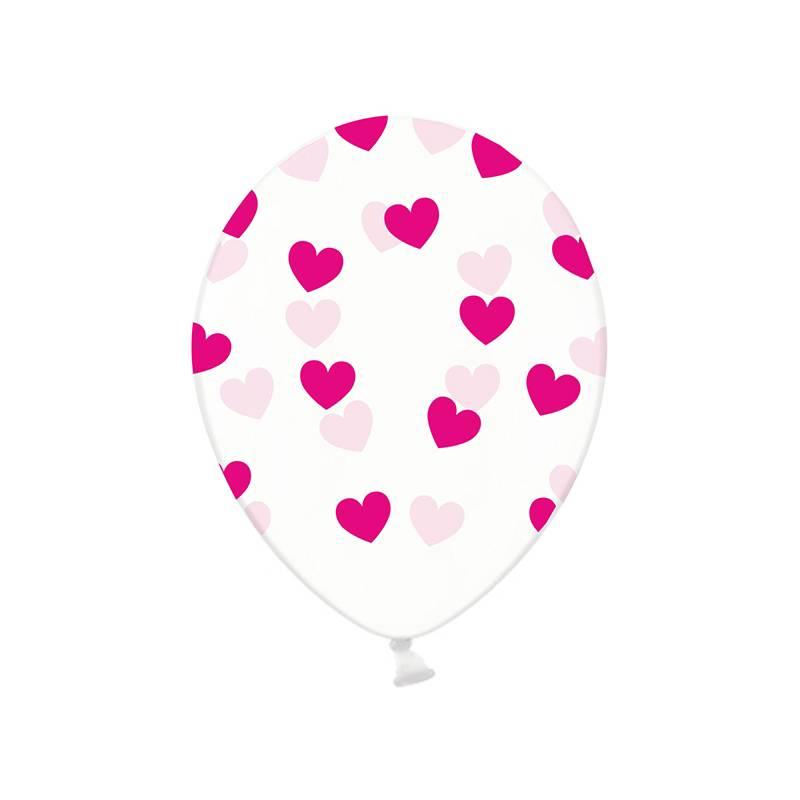 Ballonnen met fuchsia hartjes crystal clear hieppp hieppp - Deco slaapkamer jongen jaar ...