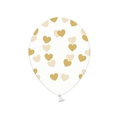 Partydeco Ballonnen met Goudkleurige Hartjes, crystal clear - 6 stuks