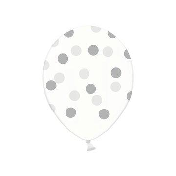 Partydeco Ballonnen met Zilveren Stippen, crystal clear - 6 stuks