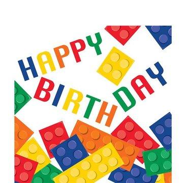 Creative Converting Lego Blokken Servetten Happy Birthday - 16 stuks