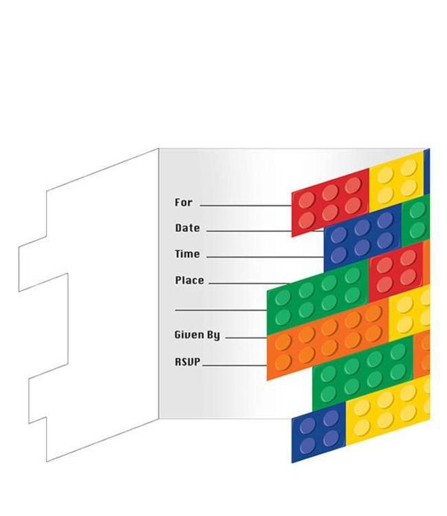 Creative Converting Lego Blokken Uitnodigingen - 8 stuks