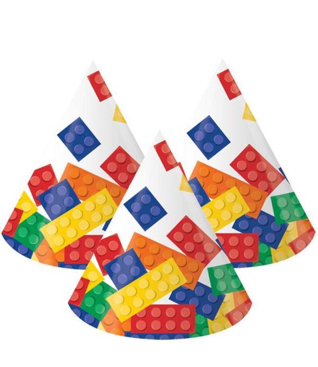 Creative Converting Lego Blokken Hoedjes - 8 stuks