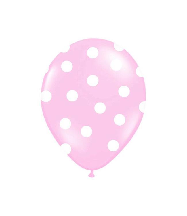 Partydeco Polka Dots Ballonnen Lichtroze met Witte stippen - 6 stuks
