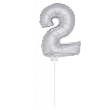 Folat Mini Cijfer 2 Folieballon Zilver - 36 cm