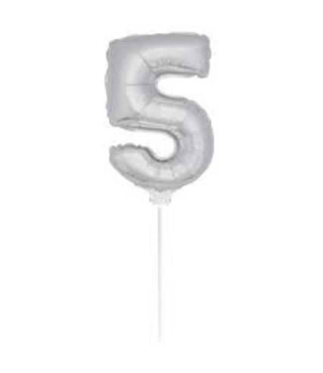 Folat Mini Cijfer 5 Folieballon Zilver - 36 cm