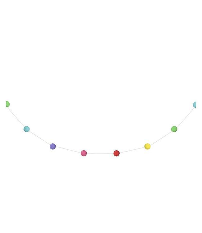 Partydeco Mini Pom Pom Slinger Kleurrijk - 2 meter - wolvilt