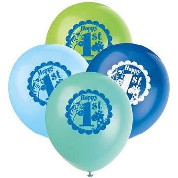 Unique 1 Jaar Safari Blauw Ballonnen - 8 stuks