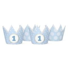 Partydeco Kroontjes Blauw - 4 stuks (incl. 2 emblemen) - karton