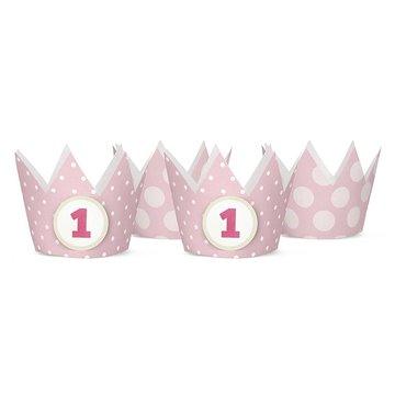 Partydeco Kroontjes Roze - 4 stuks (incl. 2 emblemen) - karton