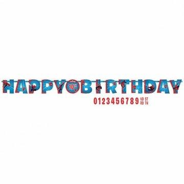 Amscan Spiderman Letterslinger 'Happy Birthday' met Leeftijd