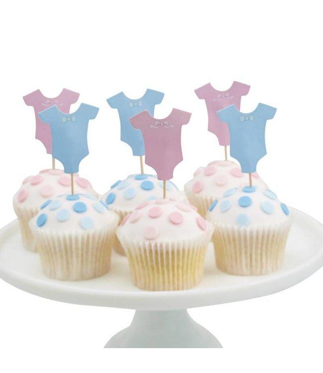 Ginger Ray Little Lady or Mini Mister Cupcake Toppers - 12 stuks