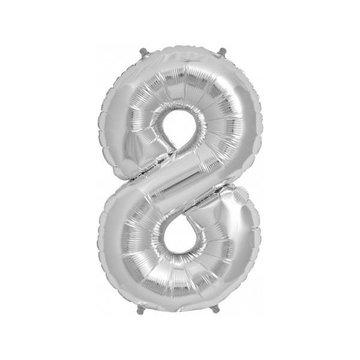 Folat XL Cijfer 8 Folieballon Zilver - 86 cm