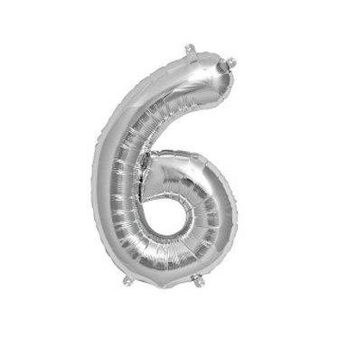 Folat XL Cijfer 6 Folieballon Zilver - 86 cm