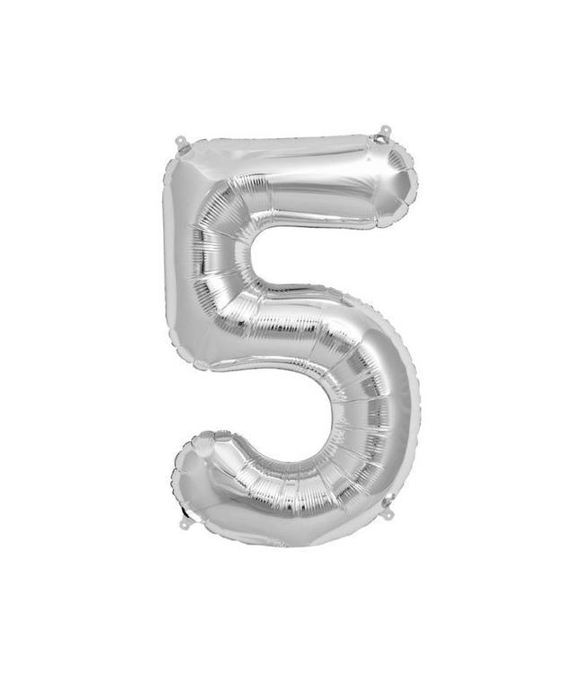 Folat XL Cijfer 5 Folieballon Zilver - 86 cm