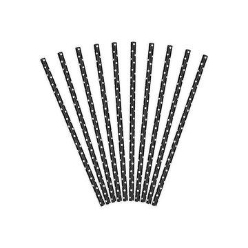 Partydeco Rietjes Zwart met Witte Stippen - 10 stuks
