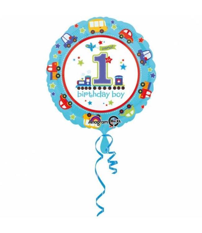 Amscan 1 Jaar Voertuigjes Folieballon Rond - 43 cm