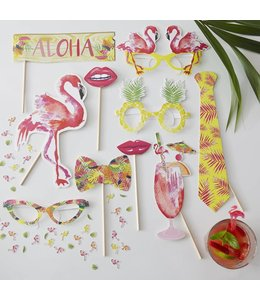 Ginger Ray Flamingo Fun Photo Props - 10 stuks