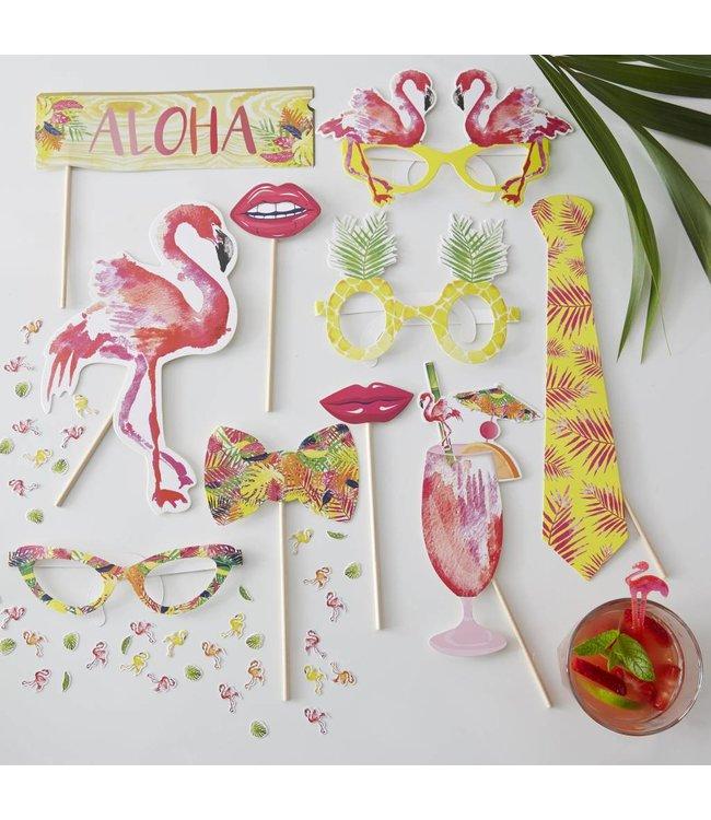 Ginger Ray Flamingo Fun Photo Props - 10 stuks
