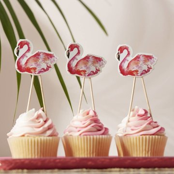 Ginger Ray Flamingo Fun Cupcake Toppers - 8 stuks