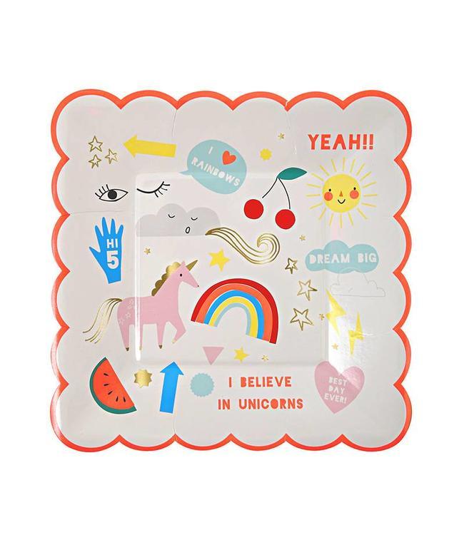 Meri Meri I Believe in Unicorns Bordjes - 8 stuks - 19 cm