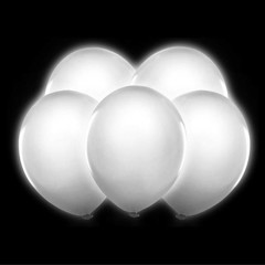 Partydeco LED Ballonnen Wit - 5 stuks - 30 cm