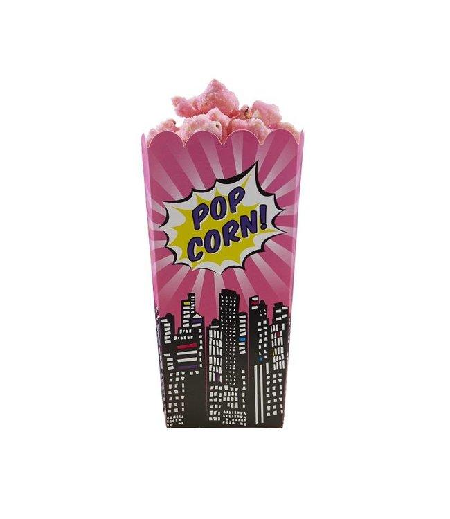 Ginger Ray Pop Art Superheldinnen Popcorn bakjes - 8 stuks - 16 cm