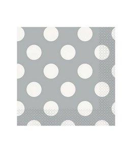 Unique Polka Dots Servetten Zilver met Witte stippen - 16 stuks