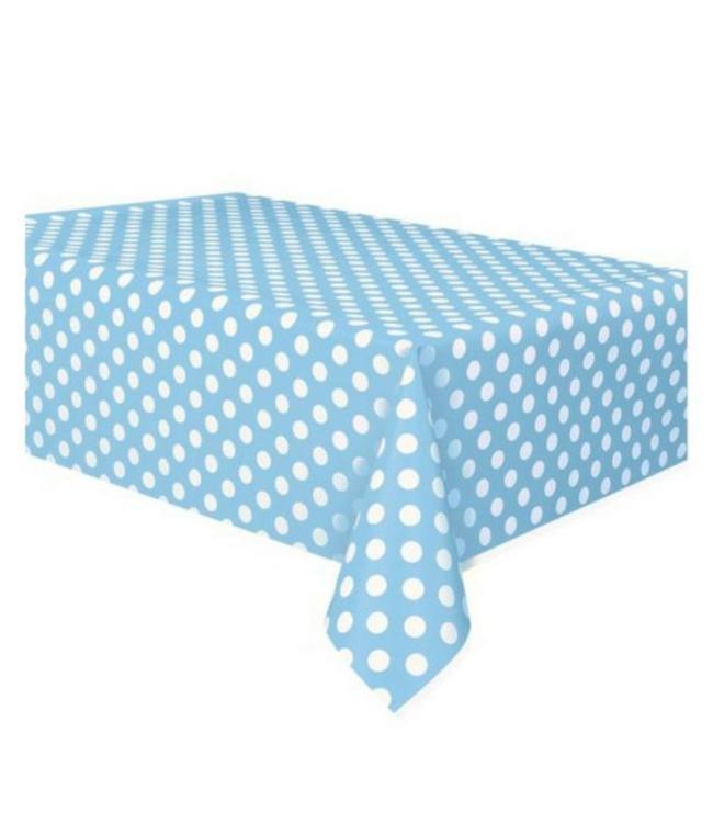 Unique Polka Dots Tafelkleed Lichtblauw met Witte Stippen - 1.37 x 2.74 meter