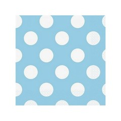 Unique Polka Dots Servetten Lichtblauw met Witte stippen - 16 stuks