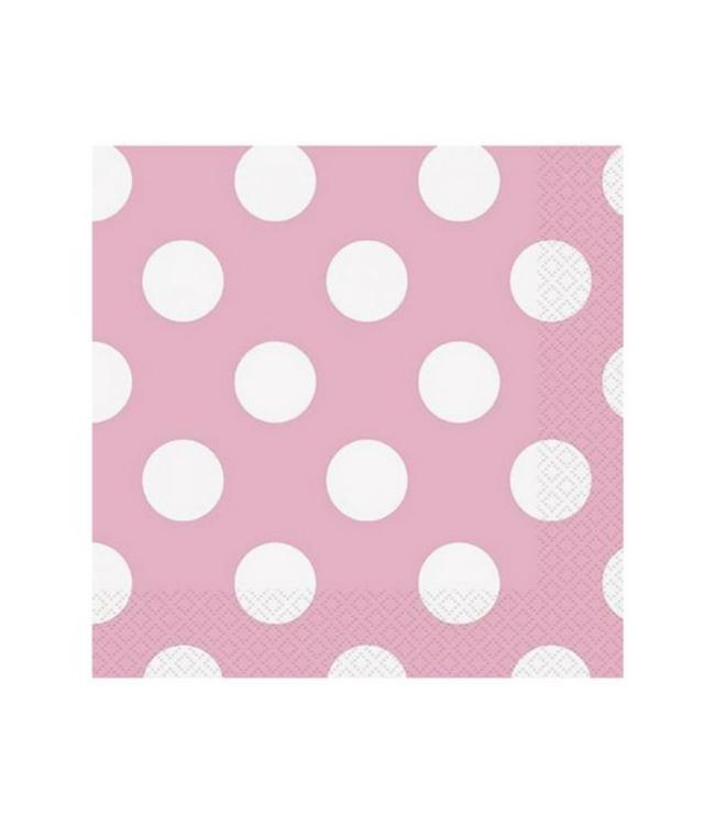 Unique Polka Dots Servetten Lichtroze met Witte stippen - 16 stuks