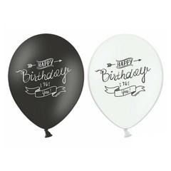 Partydeco Verjaardag Ballonnen Monochroom - 6 stuks - zwart en wit