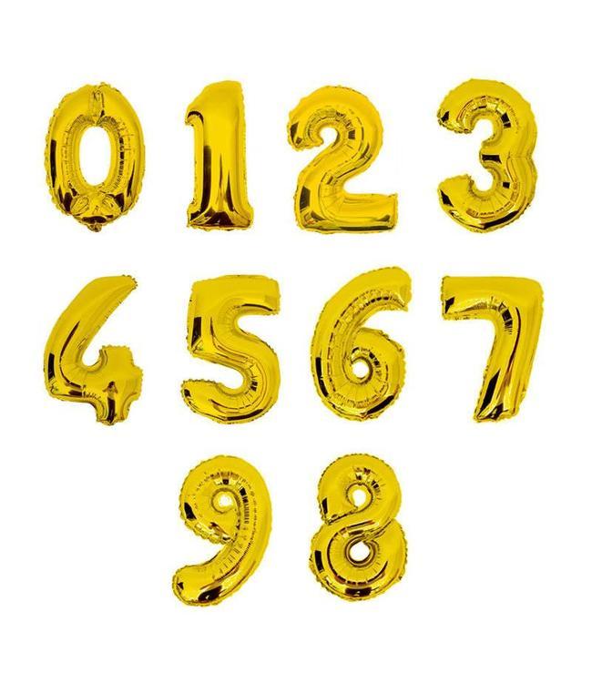 Partydeco Mini Cijfer Folieballon 0 t/m 9 Goud (per stuk) - 33 tot 35 cm